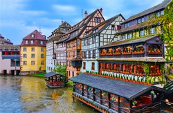 Alsace landmark in France. Europe architecture house in european Alsace