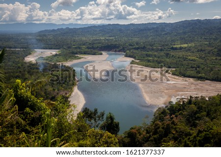 Alta Madre de Dios River at Atalaya in Peru from a high overlook  Foto stock ©