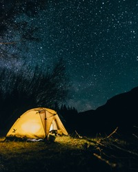 Altai mountains at night with stars