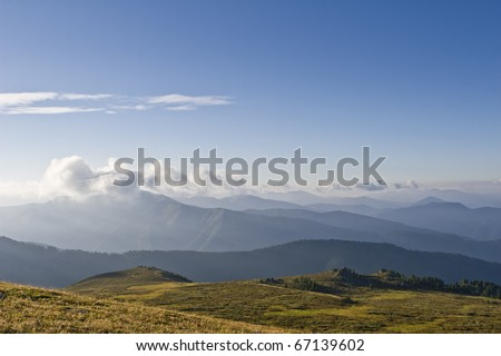 Altai mountains view from Ak-Kaya pass at sunrise