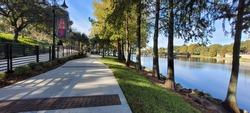 Altamonte Uptown Lake Sidewalk in Cranes Roost Park. Photo image