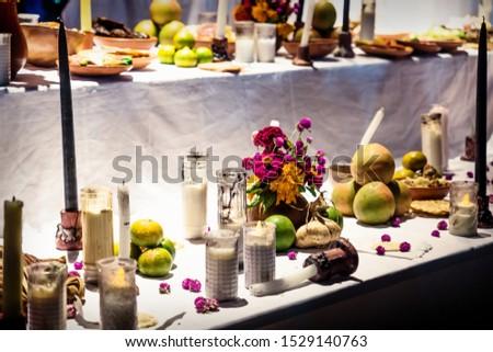 Altar for day of the dead, tradition for dia de los muertos in Merida, Mexico #1529140763