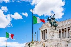 Altar of the Fatherland (Altare della patria) monument to Victor Emmanuel II the first king of Italy in Venice Square (Piazza Venezia) in Rome, Lazio, Italy
