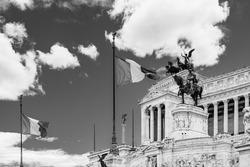 Altar of the Fatherland (Altare della patria) monument to Victor Emmanuel II the first king of Italy in Venice Square (Piazza Venezia) in Rome, Lazio, Italy in black and white