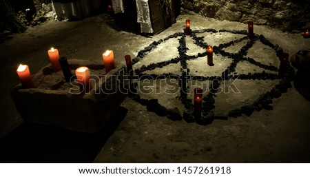 Altar rituals satanic, witchcraft and spells, halloween