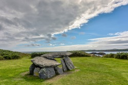 Altar Wedge Tomb - wedge-shaped gallery grave and National Monument of late Neolithic and early Broze Age, Tormore Bay, County Cork, Ireland