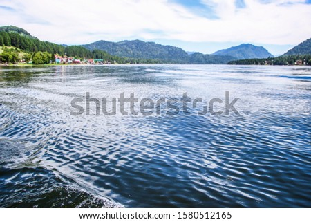 Altay Telezkoye lake beautiful mountains, green trees, pines, breathtaking views, landscapes and panoramas Russia