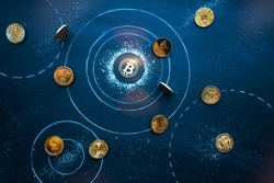 Altcoins revolve around Bitcoin in cosmos. Universe of Cryptocurrencies. Bitcoin domination symbol, market balance, teamwork, leadership concept. Network, blockchain interaction idea