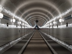 Alter Elbtunnel Old Elbe tunnel subterranean underground tube in central Hamburg and Sankt Pauli under river Germany
