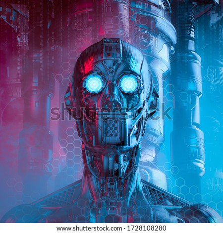 Altered steel vision / 3D illustration of science fiction humanoid robot with glowing eyes on technology background Stock fotó ©