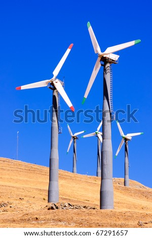 Alternate energy power source wind generator farm in California
