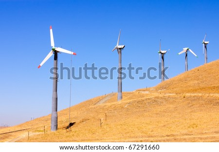Alternate energy power source wind generator farm in California