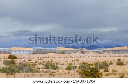 Alternative electricity energy solar collector on Arizona desert renewable energy