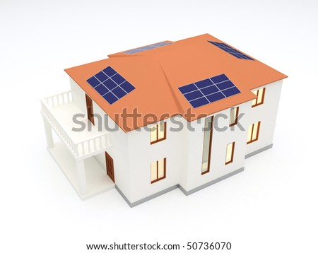 Alternative energy house with solar power panel on roof