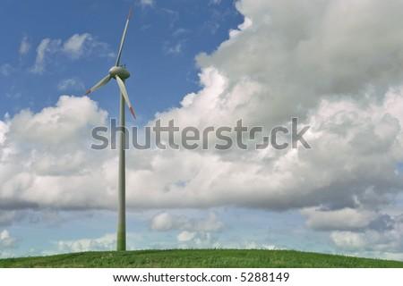 Alternative energy. Modern wind turbines creating renewable energy.