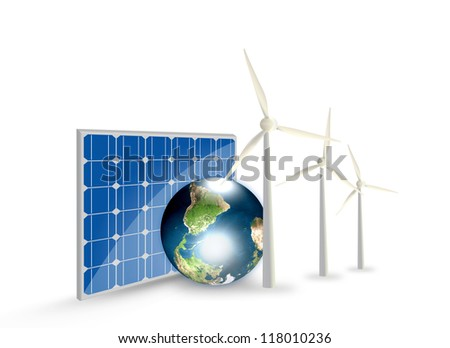 Alternative Energy (solar cell, earth, wind turbine ) Elements of this image furnished by NASA