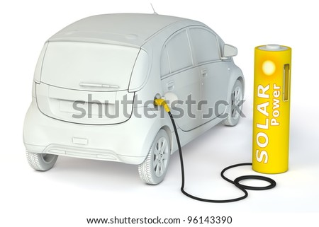alternative energy solar power - a yellow battery as a fuel pump fuels an E-Car
