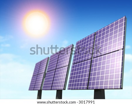 Alternative energy sources. Solar panels. Digital illustration. - stock photo