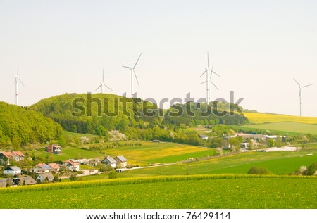 Alternative energy sources - windmills and solar panels.