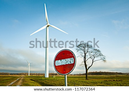 Alternative energy. Wind turbines near the road where entry is prohibited.