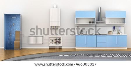 Alternative heating underfloor. Scheme of heat exchange coil. 3d illustration
