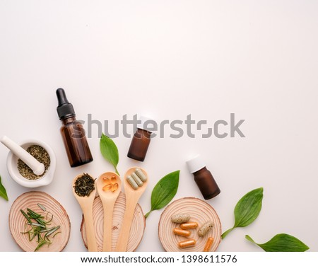 alternative herb medicine with herbal the organic natural in the laboratory. oil capsule.food nutrition healthy and wellness.