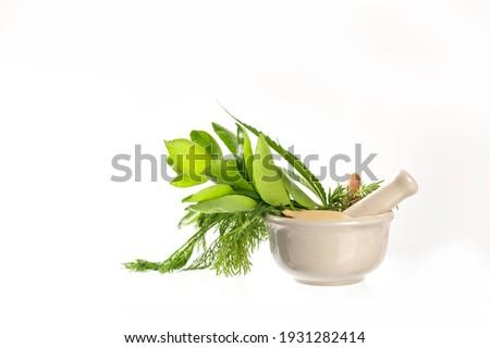 Alternative medicine herbs in ceramic mortar antioxidant  food for good health on white background. Foto stock ©