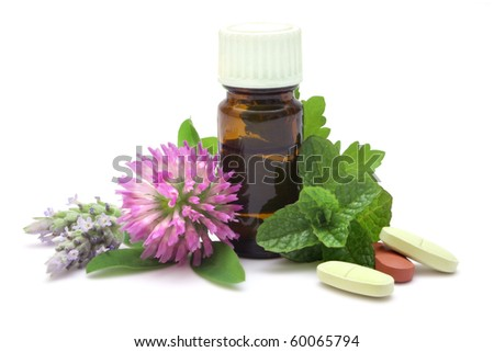 Alternative therapies grouped on pure white background