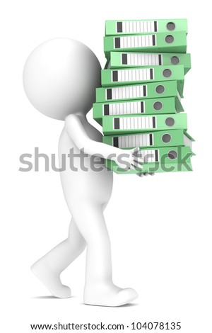 Alternatives. 3D little human character carrying a large green pile of Ring Binders. People series.