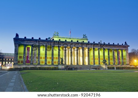 Altes Museum (Old Museum) located on Museum Island, a UNESCO-designated World Heritage Site on Berlin, Germany