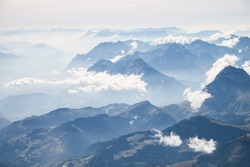 Altitude View over the Alps Moutains Chain from a Twoseater Plane