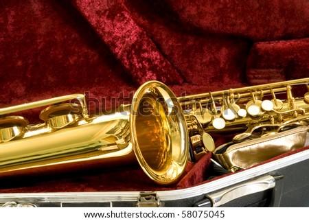 alto sax in the case - stock photo