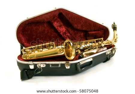 alto sax in the case on white background