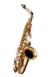 Alto Saxophone woodwind instrument isolated over white