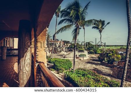 Altos de Chavon, Dominican Republic. ?ncient Mediterranean style European village. Retro processed image. Filtered hipster style photo.