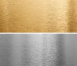 aluminium and brass metal plates background