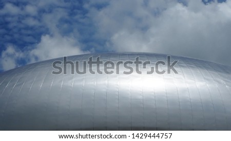 aluminium composite roof for roofing solutions on blue sky background and white clouds #1429444757