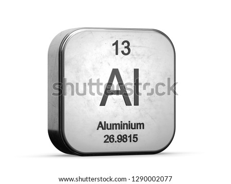 Aluminium element from the periodic table. Metallic icon 3D rendered on white background.