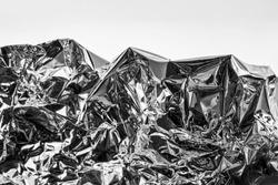 Aluminium foil, Metallic gray background, Texture of Crumpled aluminum foil