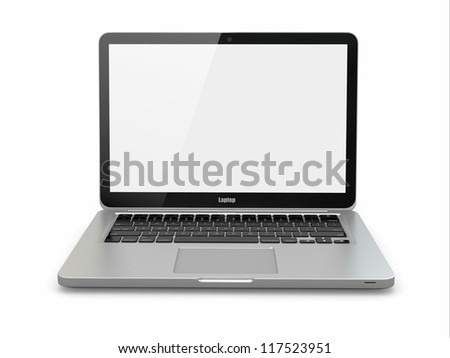 Aluminium laptop on white background. Three-dimensional image.