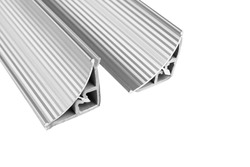 Aluminium profile for windows and doors manufacturing. Structural metal aluminium shapes. Aluminium profiles texture for constructions isolated on white background.