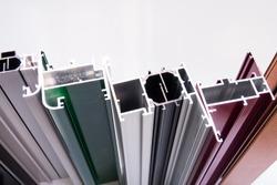 aluminium protruded profile for windows and doors manufacturing .selective focus