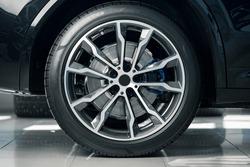 Aluminium rim of luxury car wheel close up