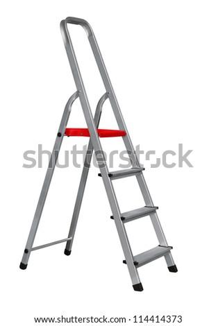 Aluminium stairway ladder isolated on white