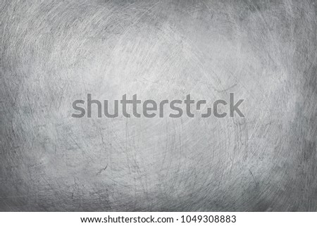 aluminium texture background, scratches on stainless steel. #1049308883
