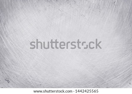 aluminium texture background, scratches on stainless steel. #1442425565
