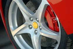 aluminium Wheel on a red sport car