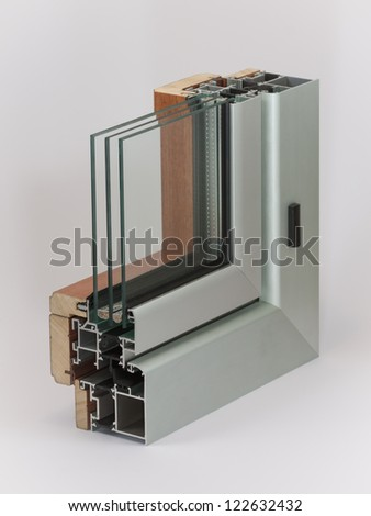 Aluminium window with wooden wrap sample