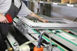 Aluminum and PVC Window production, close up
