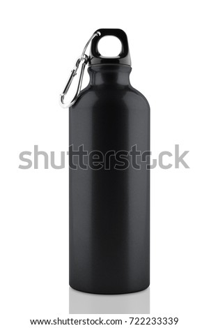 Aluminum bottle water isolated white background with clipping path #722233339